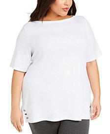 Karen Scott Plus Size Stud-Trim Tunic, Created for Macy's