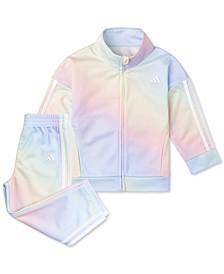 Baby Girls 2-Pc. Iridescent-Print Tricot Jacket & Pants Set