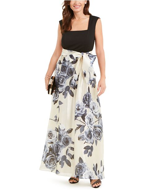 R & M Richards Belted Floral-Skirt Gown