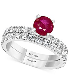 EFFY® Certified Ruby (1-1/10 ct. t.w.) & Diamond (1 ct. t.w.) Bridal Set in 14k White Gold
