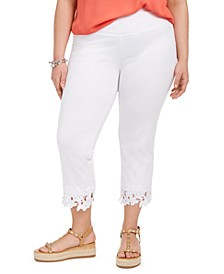 INC Plus Size Cropped Crochet-Hem Leggings, Created For Macy's