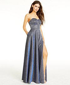 B Darlin Juniors' Lace-Up-Back Glitter Gown