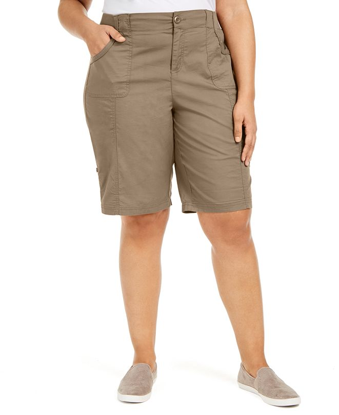Style & Co Plus Size Cotton Bermuda Shorts, Created for Macy's