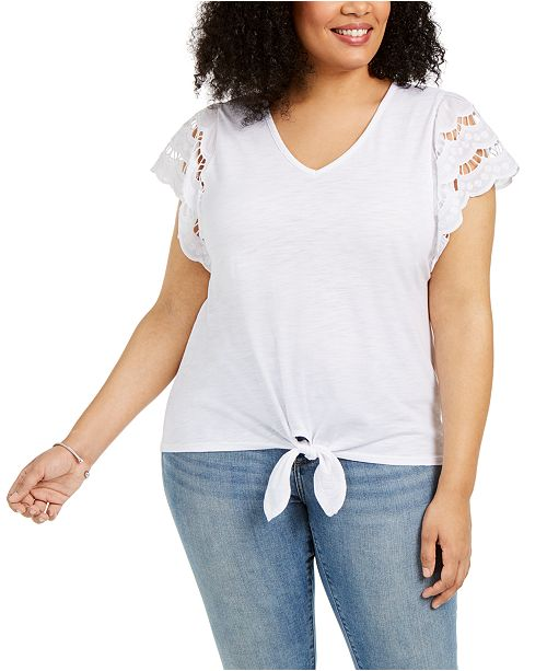 Style & Co Plus Size Eyelet-Sleeve Tie-Front Top, Created for Macy's