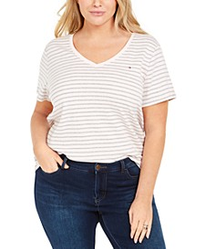 Plus Size Cotton Striped T-Shirt