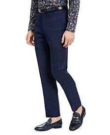 Men's Dover Slim-Fit Navy & Light Blue Windowpane Dress Pants