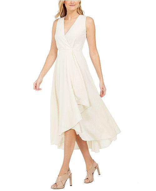 Calvin Klein Textured Ruffled Faux-Wrap Dress