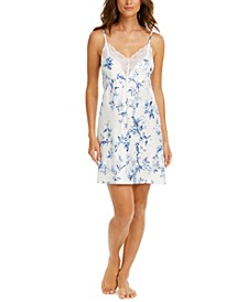 Aviary Lace-Trim Floral-Print Satin Chemise Nightgown