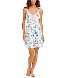 Linea Donatella Aviary Lace-Trim Floral-Print Satin Chemise Nightgown