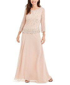 Scallop-Trim Embellished Gown