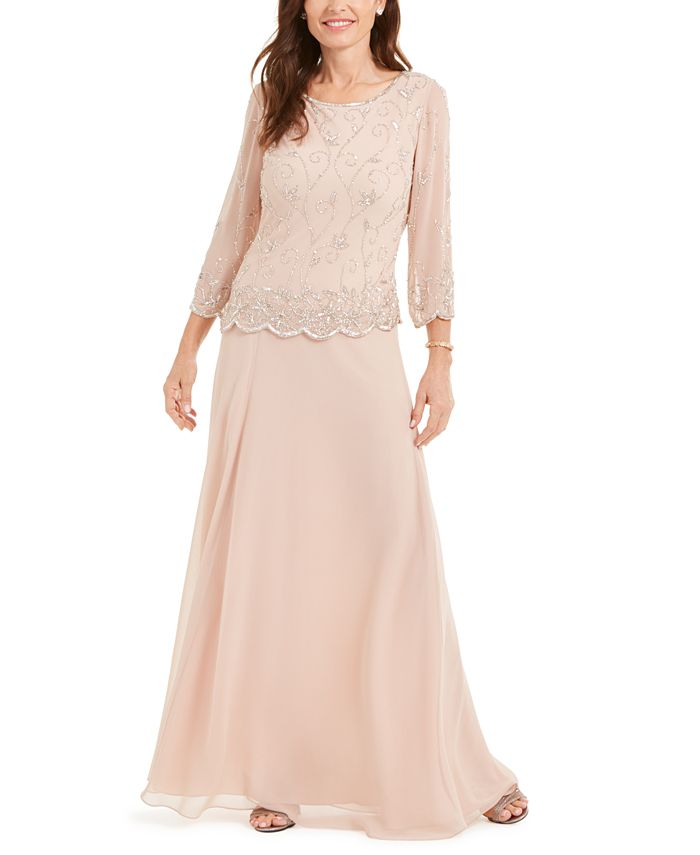 J Kara - Beaded-Overlay Gown