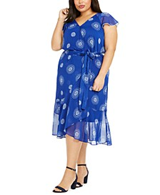 Plus Size Printed Chiffon Fit & Flare Dress