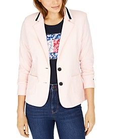 Stripe-Trim Knit Blazer