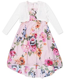 Little Girls 2-Pc. Cardigan & Floral Dress Set