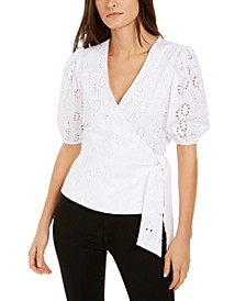 INC Cotton Puff-Sleeve Eyelet Faux-Wrap Top, Created for Macy's