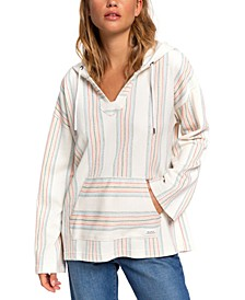 Juniors' Call Of The Ocean Striped Hoodie