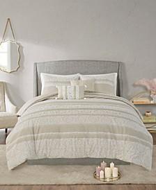 Jillian 5 Piece King/California King Cotton Clipped Jacquard Comforter Set