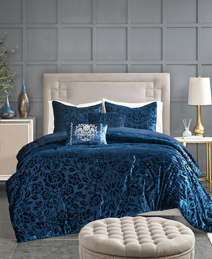 Madison Park - Irene Velvet 5-Piece Queen Comforter Set