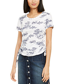 INC Toile-Print Ruched-Side Top, Created for Macy's