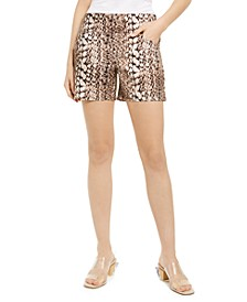 INC Snake-Print Shorts, Created for Macy's