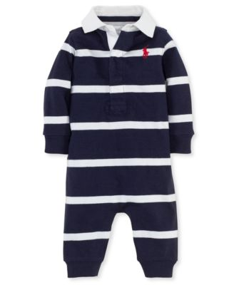 ralph lauren baby boys striped rugby coverall