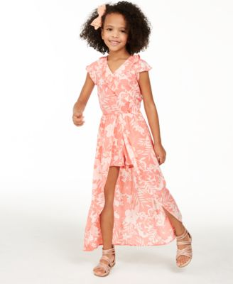 Girls Skater Dress Kids Yellow Floral Belted Summer Party Dance Sun Dresses Age 7 8 9 10 11 12 13 Years