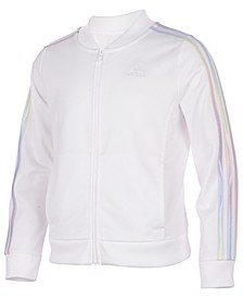 Big Girls Iridescent-Stripe Tricot Jacket