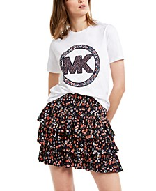 Cotton Floral-Logo Top, Regular & Petite