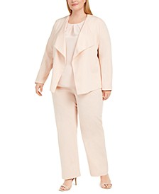 Plus Size Shawl-Collar Blazer, Camisole & Wide-Leg Dress Pants