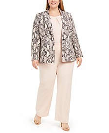 Plus Size Snakeskin-Print Blazer, Pleated Camisole & Wide-Leg Dress Pants