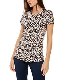INC Petite Cotton Leopard-Print T-Shirt, Created for Macy's