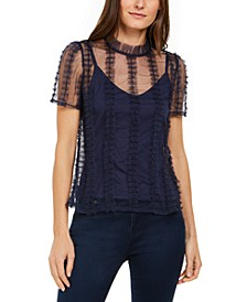 INC Petite Ruffled Tulle Top, Created for Macy's