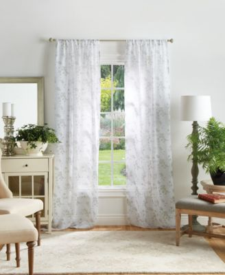 "Martha Stewart Bellefield Floral Sheer 50"" x 95"" Curtain Set"