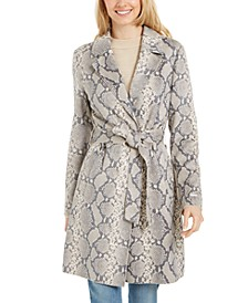 Snake-Embossed Trench Coat