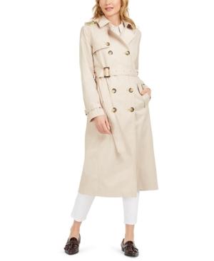 Tahari Double-Breasted Hooded Raincoat