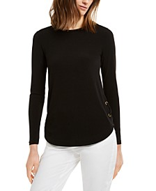 Lace-Up Long-Sleeve T-Shirt, Regular & Petite