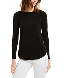 Michael Michael Kors Lace-Up Long-Sleeve T-Shirt