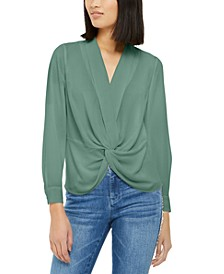 INC Solid Twist-Front Blouse, Created for Macy's