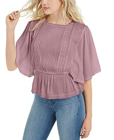 Juniors' Flutter-Sleeve Top
