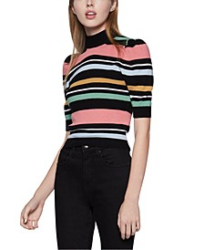 Striped Puff-Shoulder Sweater
