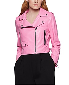 Cropped Faux-Leather Moto Jacket
