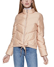 Ribbon-Tie Puffer Jacket