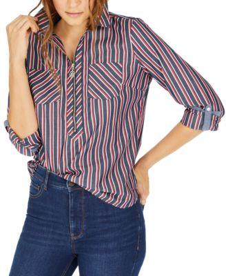 Multi-Stripe Zip-Neck Cotton Top