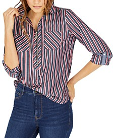 Multi-Stripe Zip-Neck Cotton Top