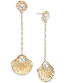 Gold-Tone Imitation Pearl Fanshell Linear Drop Earrings, Created for Macy's