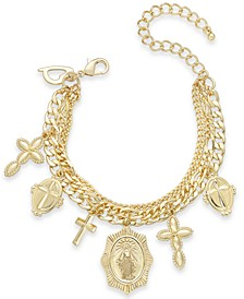 Gold-Tone Cross Charm Triple-Chain Bracelet, Created for Macy's