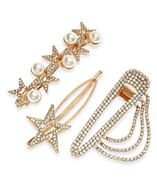 3-Pc. Gold-Tone Pavé & Imitation Pearl Star Hair Barrette Set, Created for Macy's