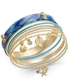 Gold-Tone 5-Pc. Set Blue Sea Life Bangle Bracelets, Created for Macy's