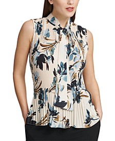 Petite Pleated Floral-Print Sleeveless Blouse