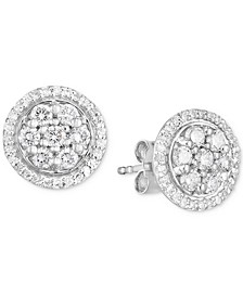 Lab-Created Diamond Halo Cluster Stud Earrings (3/4 ct. t.w.) in Sterling Silver